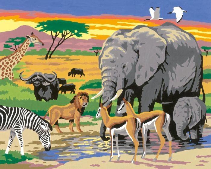 Schilderen op nummer Wildlife dieren in Afrika