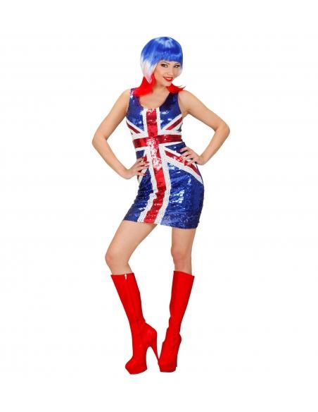 deguisement femme drapeau anglais robe a paillettes bleu blanc rouge