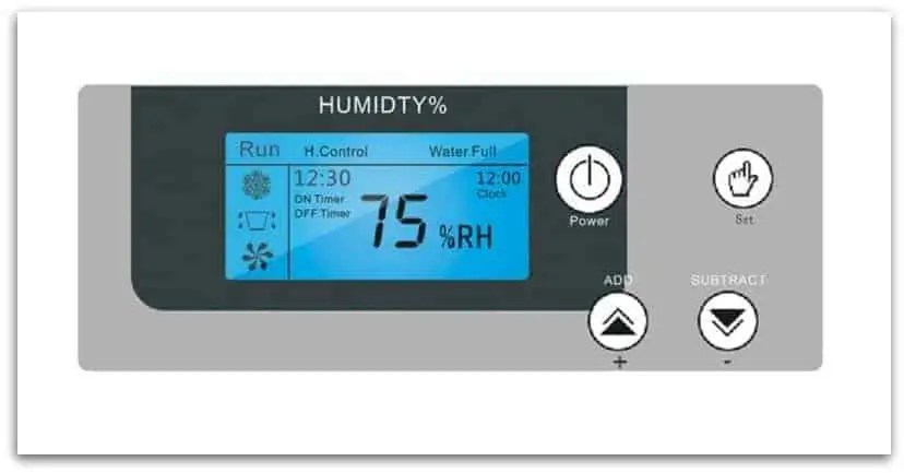 Indoor pool dehumidification system control panel.