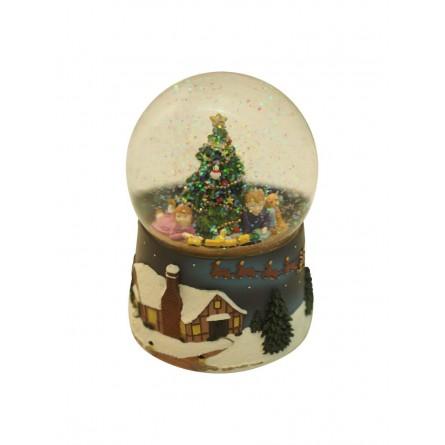 Disegni di natale per bambini da ritagliare e colorare. Sfera Con Brillantini E Bambini Sotto L Albero Di Natale