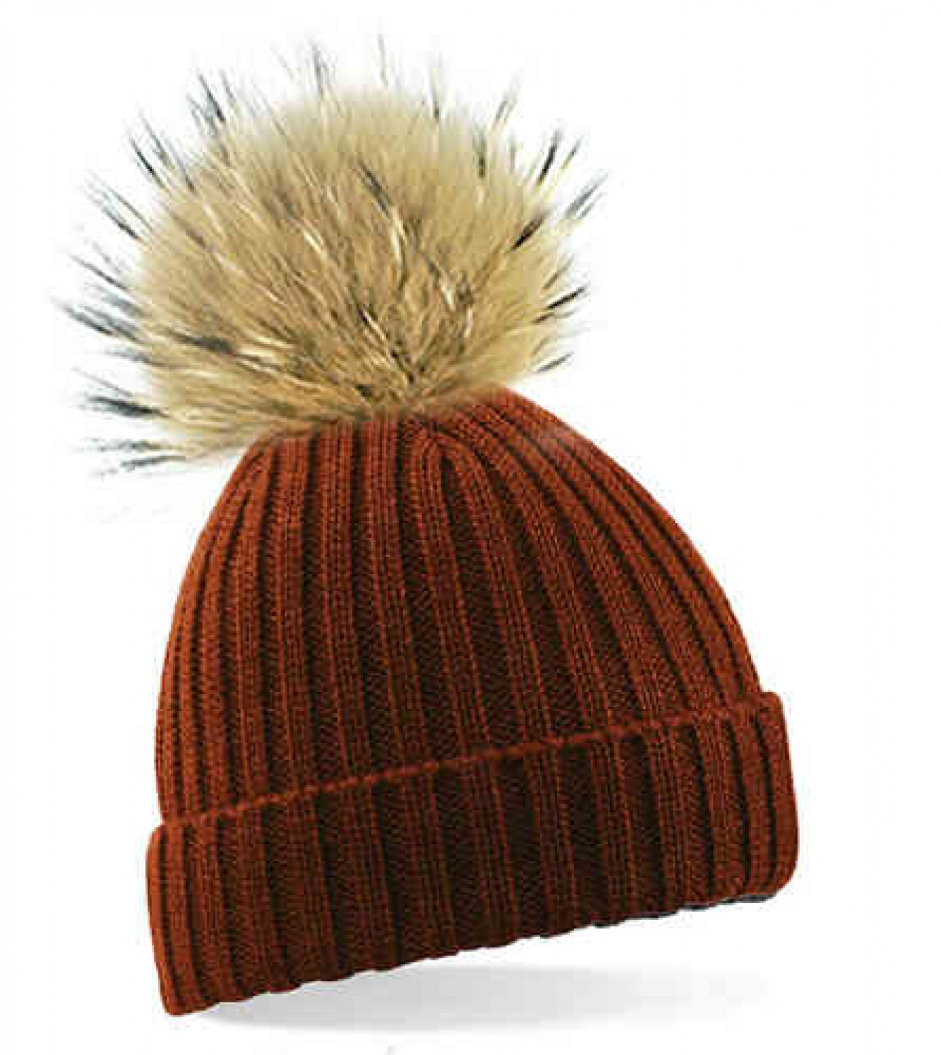 Buy Brown bobble hat with brown fur bobble online at Your