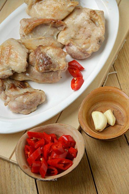 voorbereidingen- ayam- ketjap- pedis