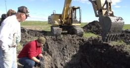 bauer findet ein mammut skelett