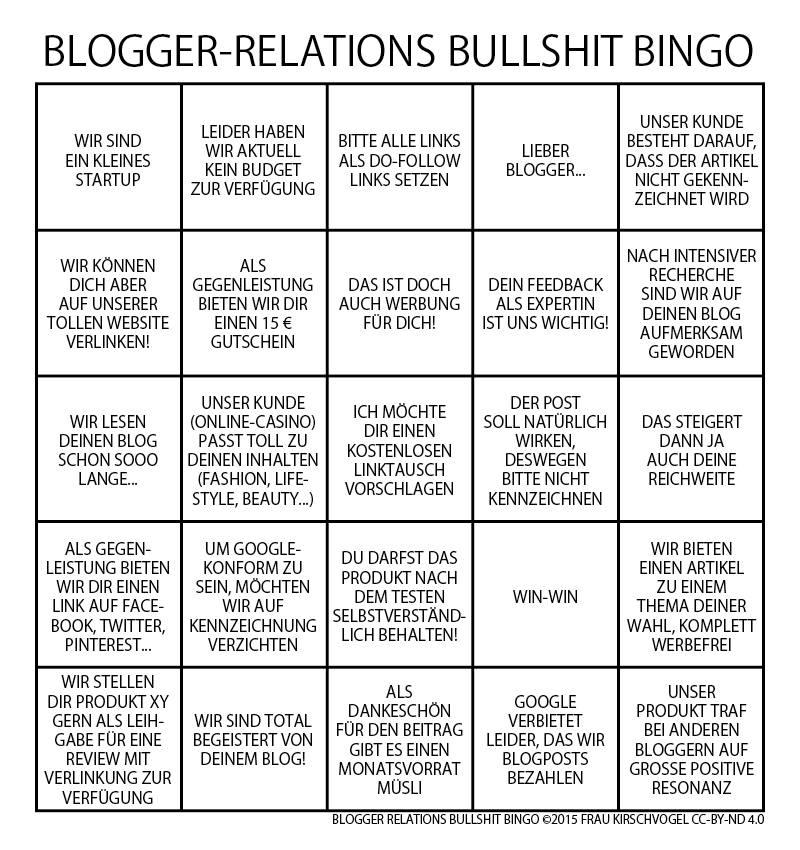 blogger relations bullshit bingo