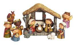 dpr. Kleine Deko Krippe 12-TLG. Set Kinder Krippenfiguren mit Stall handbemalt Weihnachtskrippe Figuren Weihnachten - 1