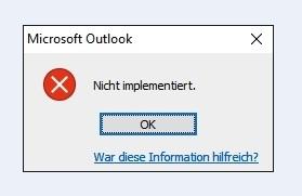 outlook nicht implementiert