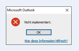 outlook nicht implementiert