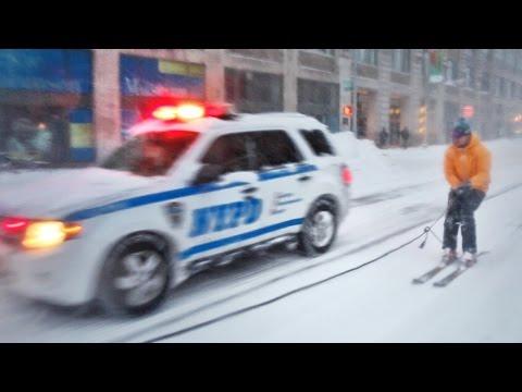 snowboarden in new yorks strasse