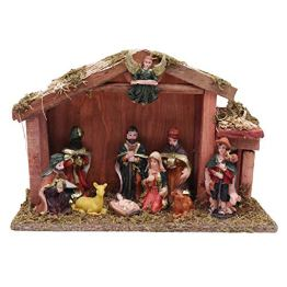 Weihnachtskrippen Set - Krippen Figuren und Nativity Scene mit Maria, Josef, Jesus, Heilige 3 Könige, Hirte, Engel, Schaf, Ziege und Pferd - Wohnaccessoire Deko - Traditionelle Krippe für Weihnachten - 1