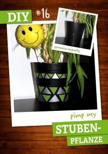 mit dekorativer Haftfolie verzierter Blumentopf