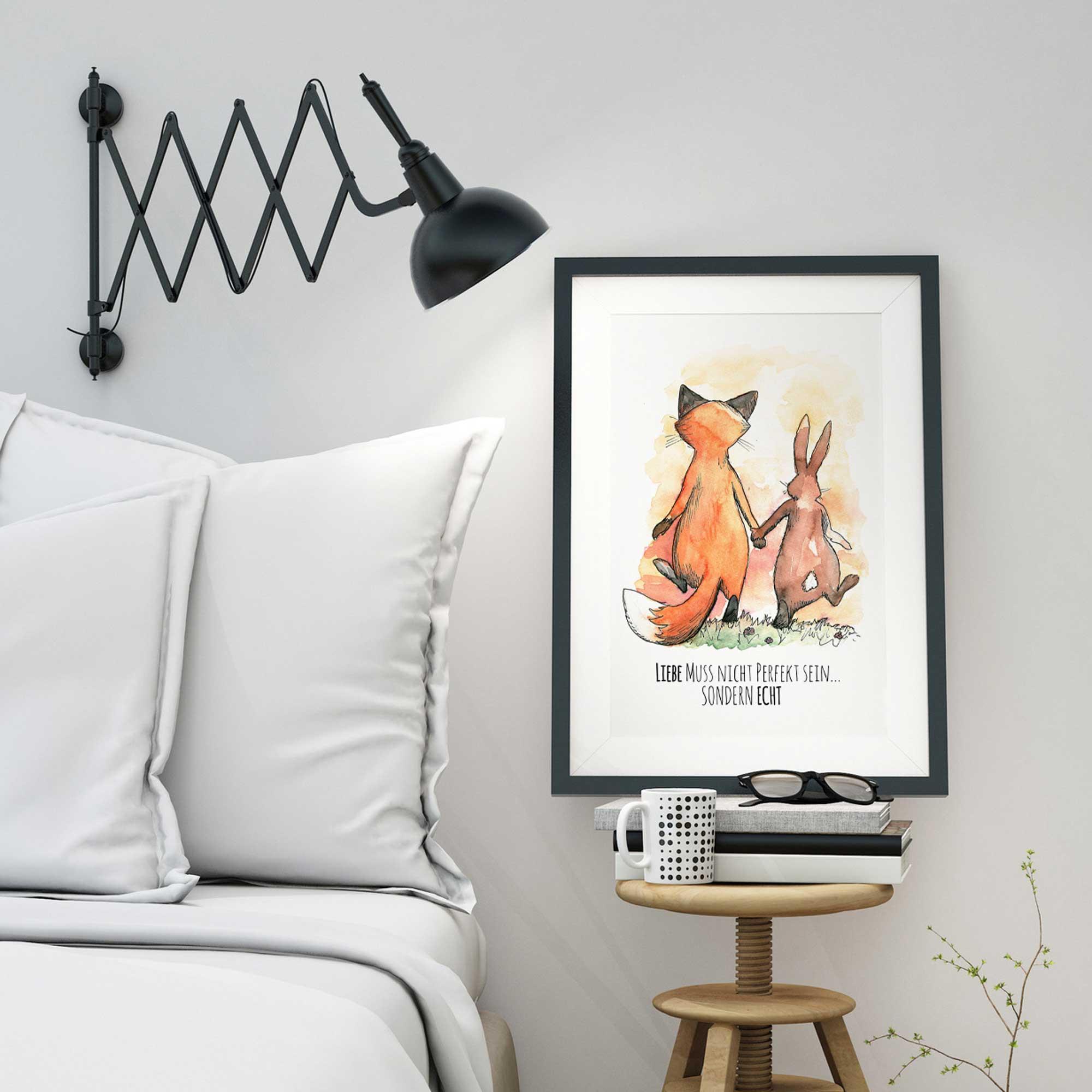 A3 Print Illustration Poster Hase und Fuchs mit Spruch Liebe muss nicht perfekt sein sondern
