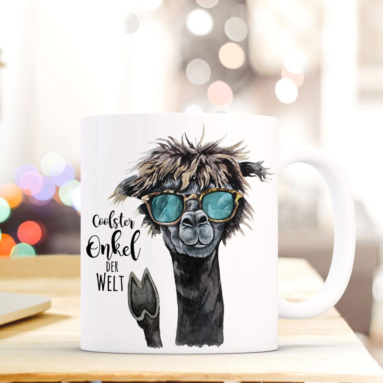 Tasse Becher mit Lama  Spruch Coolster Onkel der Welt Zitat Geschenk Kaffeebecher mit Motto