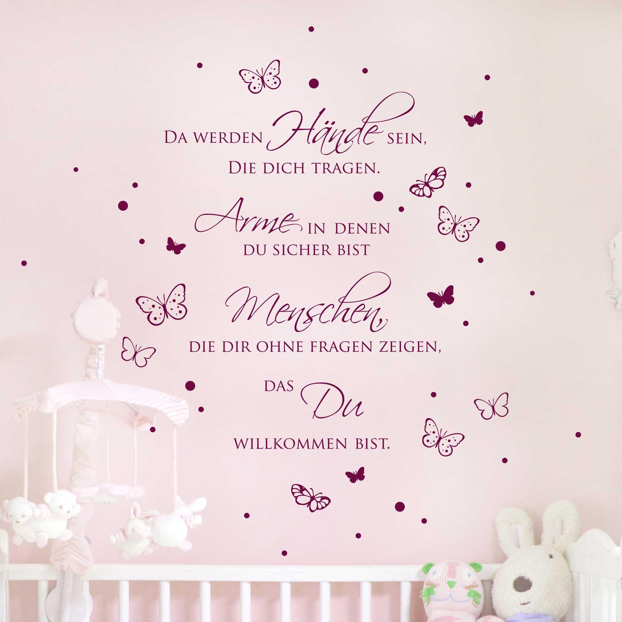 Wandtattoo Zitat Baby Spruch Da Werden Hande Sein Mit