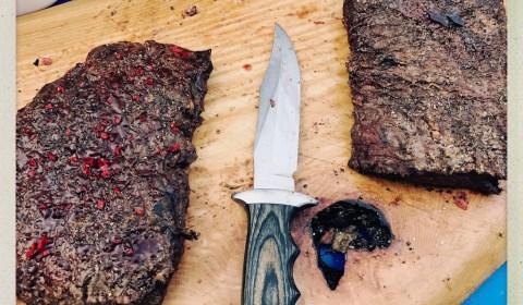 Flat Iron Steak mit Schoko/Chilli Kruste und Braunem Zucker
