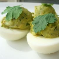 Avocado and Cilantro Deviled Eggs