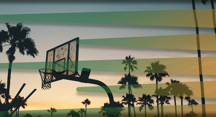 Basketball court at sunset