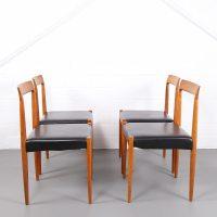 Four Minimalist Dining Chairs Danish Design Teak Leather ...