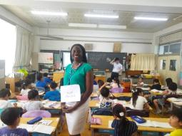 Ms. Brooks takes picture in Japanese classroom