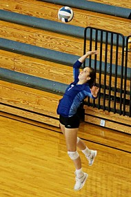player jumps in air to serve ball