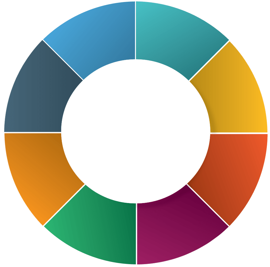 eight sections pie circle with colors
