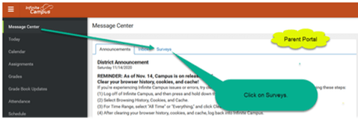 virtual opt in virtual learning screenshot on infinite campus