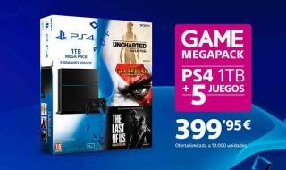 PS4 de 1TB + 5 juegos por 399,95 euros en Game