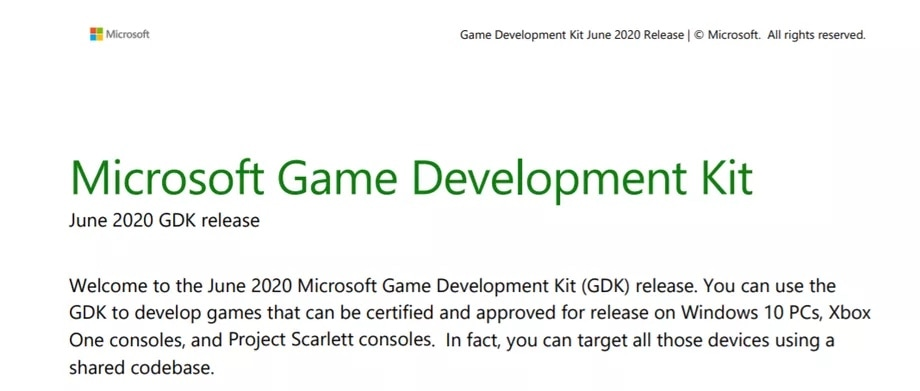 Project Scarlett - Devkit junio 2020