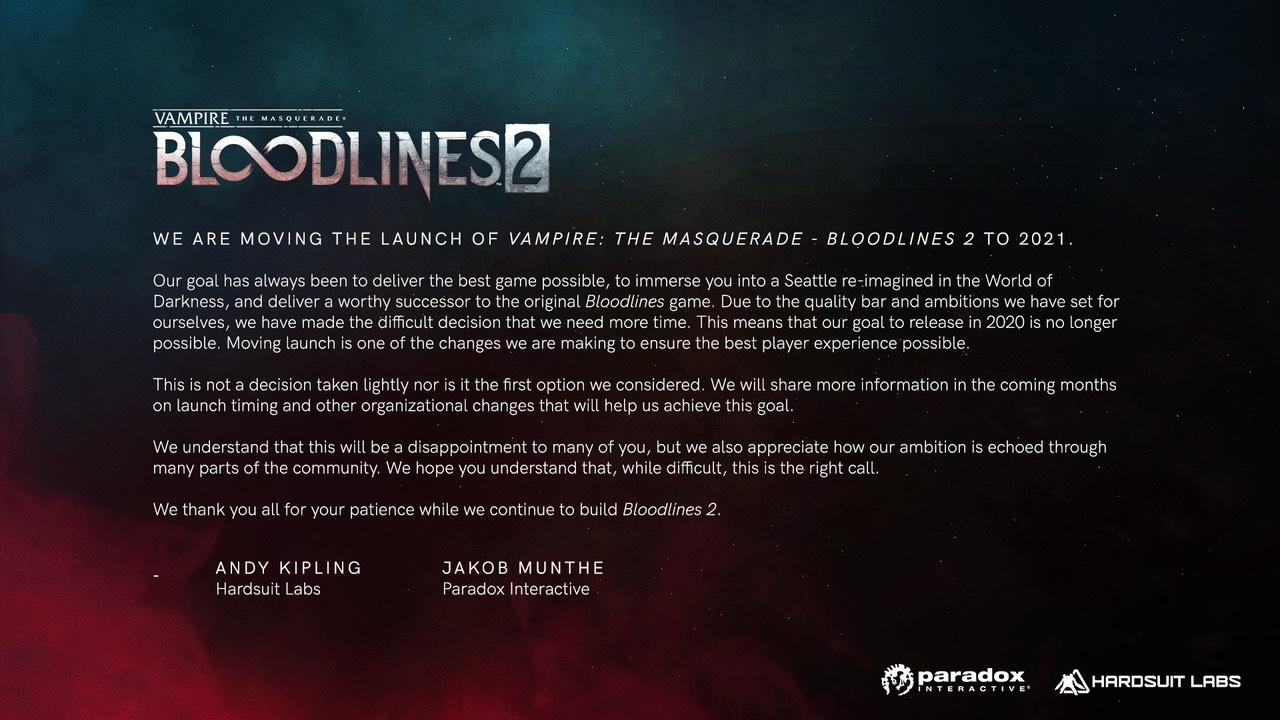 Vampire The Masquerade - retraso