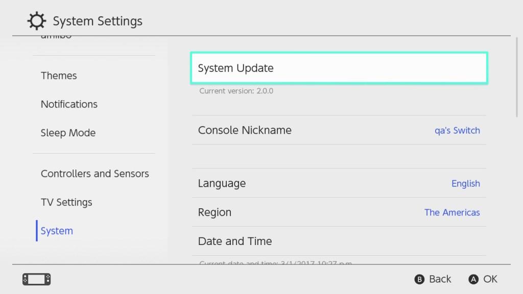 Nintendo Switch - System Update