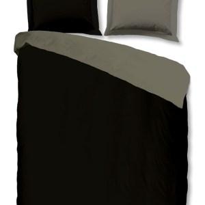 A-Keuze - ML Dekbedovertrek Double Face Zwart / Grijs-200 x 200/220 cm
