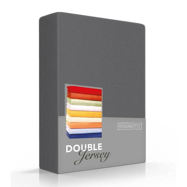 Romanette Luxe Dubbel Jersey Hoeslaken - Antraciet 120/130 x 200/210/220
