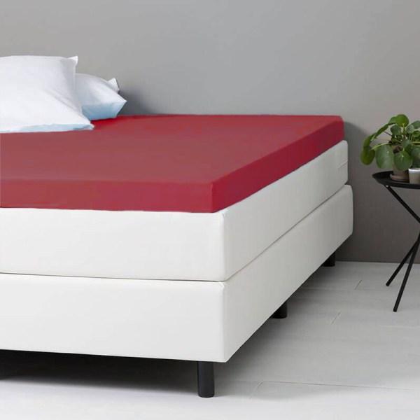 Hoeslaken Katoen - 80x200 cm - Bordeaux Rood - Dekbed Discounter