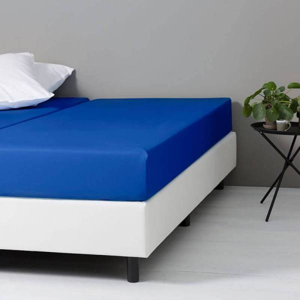 Hoeslaken Katoen - 80x200 cm - Blauw - Dekbed Discounter