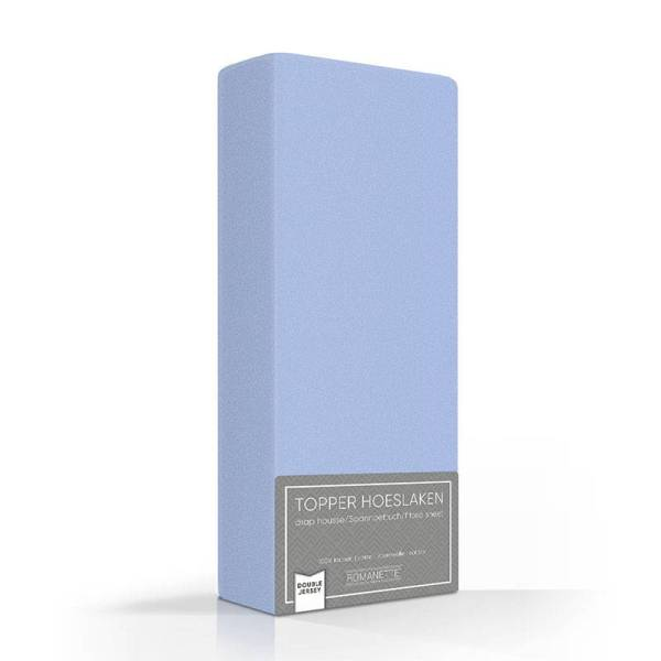 Romanette Luxe Dubbel Jersey Topper Hoeslaken - Blauw 140 x 200/210/220 cm