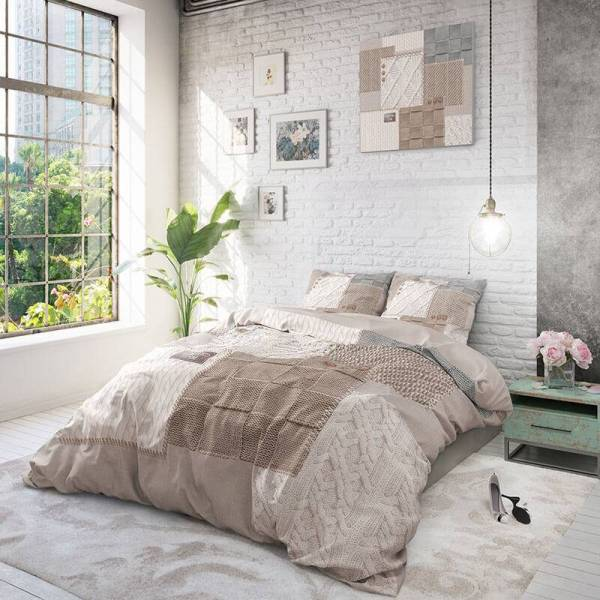 DreamHouse Bedding Knitted Home - Taupe 2-persoons (200 x 220 cm + 2 kussenslopen) Dekbedovertrek