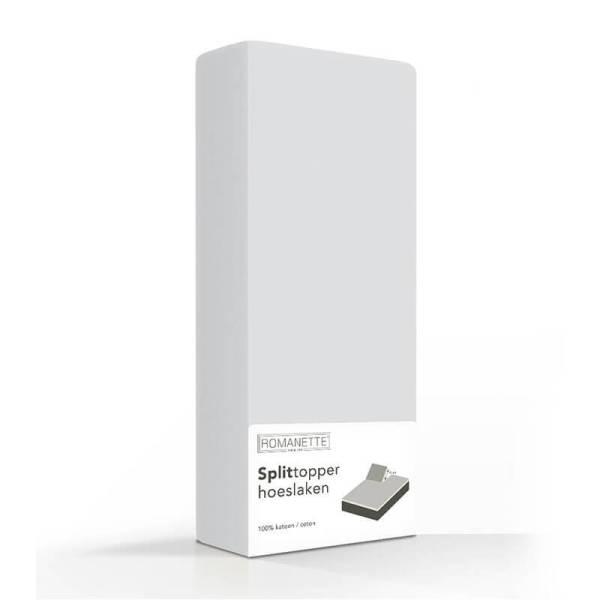 Hoeslaken Luxe Splittopper Katoen - Zilver Romanette 160 x 200 - Ga naar Dekbed-Discounter.nl & Profiteer Nu