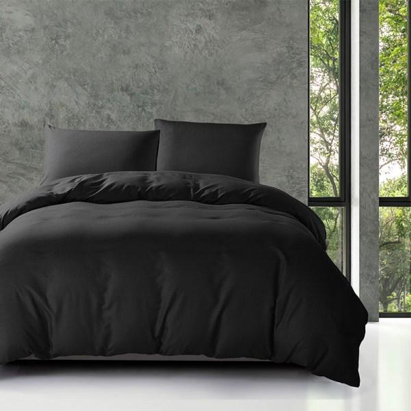Fresh & Co Dobby - Zwart Lits-jumeaux (240 x 200/220 cm + 2 kussenslopen) Dekbedovertrek