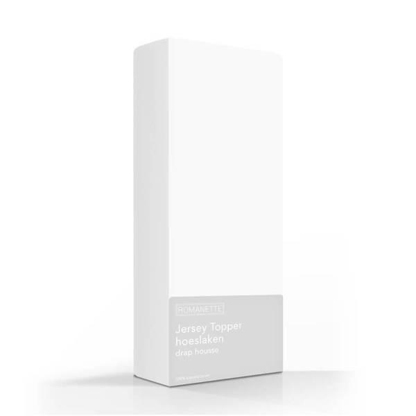 Hoeslaken Jersey Topper - Stretch - Wit Romanette 80/100 x 200/220 - Ga naar Dekbed-Discounter.nl & Profiteer Nu