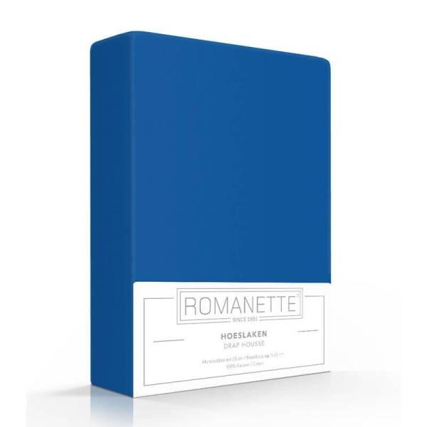 Luxe Verkoelend Hoeslaken Katoen - Kobalt Romanette 80 x 200 - Ga naar Dekbed-Discounter.nl & Profiteer Nu