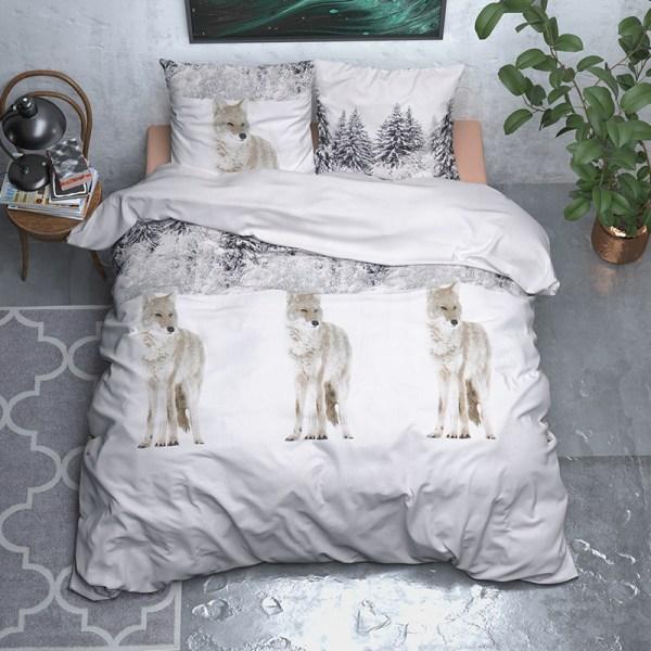 Dekbedovertrek Snowy Wolf - Verwarmend Flanel 1-persoons (140x200/220 cm) - Flanel - Landschap