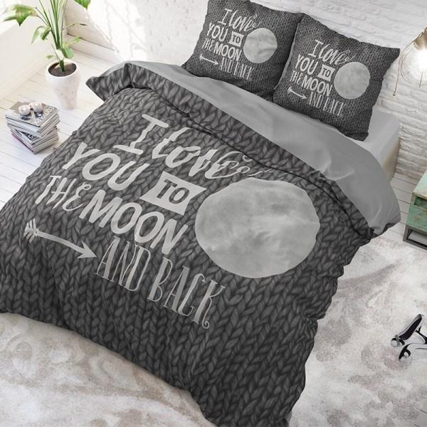 Dekbedovertrek Moon and Back 1-persoons (140x220 cm) - Katoen - Tekst