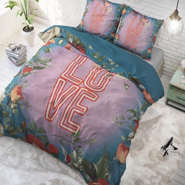Dekbedovertrek Led Love 1-persoons (140x220 cm) - Katoen - Patroon