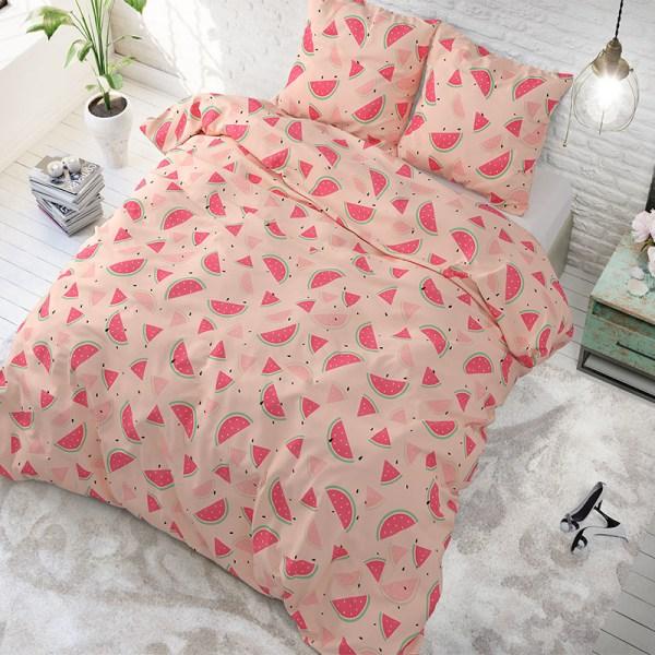 Dekbedovertrek Sweet Watermelon Pink 1-persoons (140x200/220 cm) - Katoen - Patroon - Roze - Ga naar Dekbed-Discounter.nl & Profiteer Nu