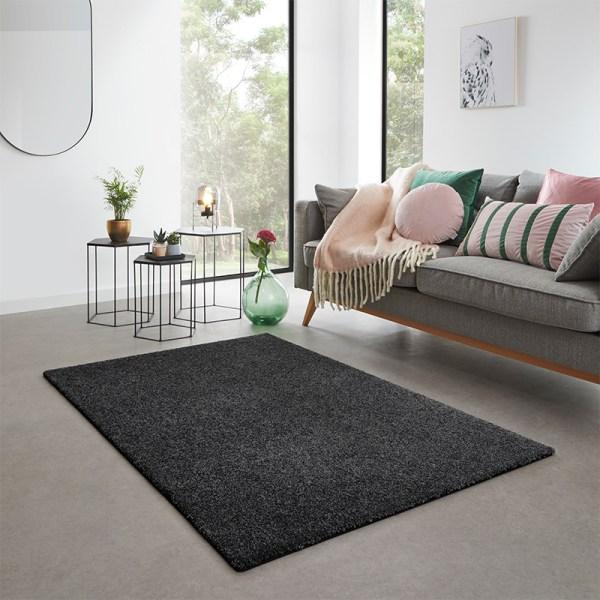 Vloerkleed San Miguel - Zwart Olive Effen 57 x 150 cm - Ga naar Dekbed-Discounter.nl & Profiteer Nu