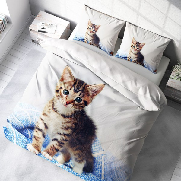 Dekbedovertrek Cute Kitten 1-persoons (140x200/220 cm) - KatoenKatoen-satijnKatoen - Dieren - - Ga naar Dekbed-Discounter.nl & Profiteer Nu