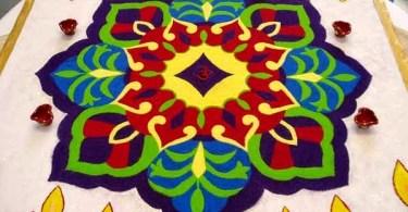 Happy Diwali Rangoli Designs with flowers