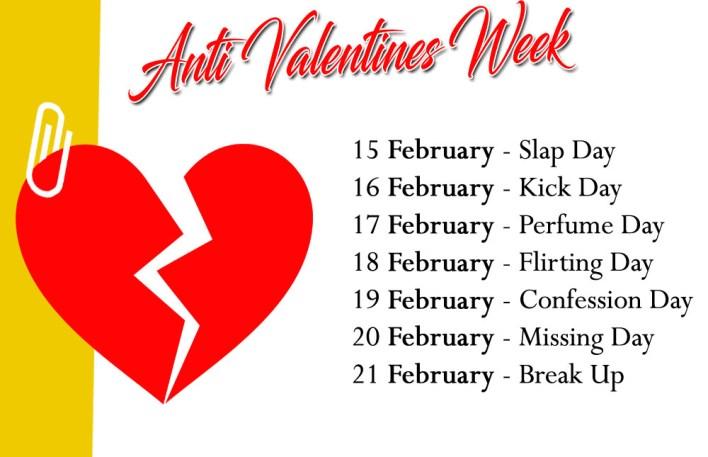 Anti-Valentine Week List 2020