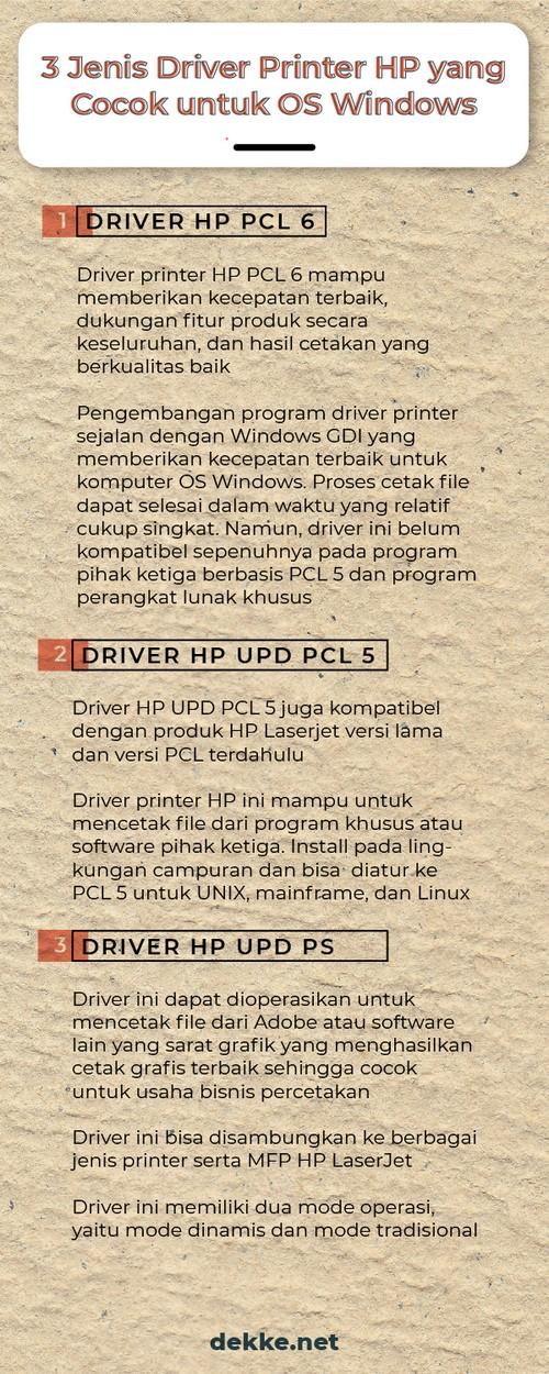 memilih driver printer HP untuk Windows