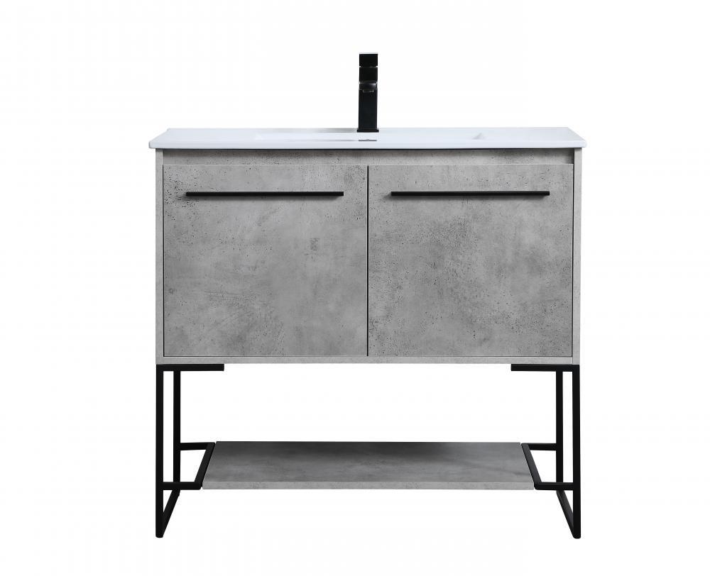 36 Inch Single Bathroom Vanity In Concrete Grey Vf42036cg Dekker Lighting