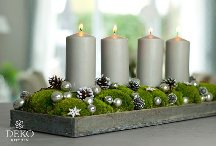 DIY hbscher lnglicher Adventskranz mit Moos und